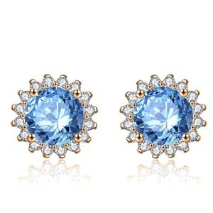 CZ Crystals Stud Earrings NW Golden